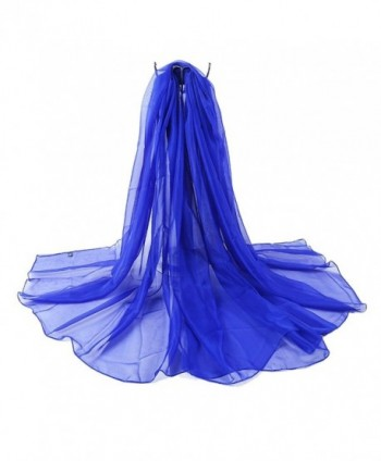 LD DRESS 2016 Women Chiffon Solid Scarf Beach Wraps Sunscreen Shawls - Royal Blue - CU12GXDS0MT