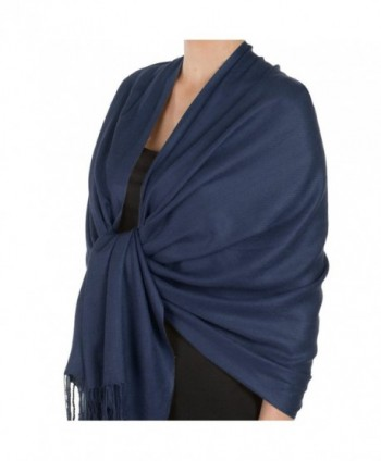 Pashmina Large Soft Plain Shawl/Wrap/Scarf for Women - Navy - CM189OAMT69