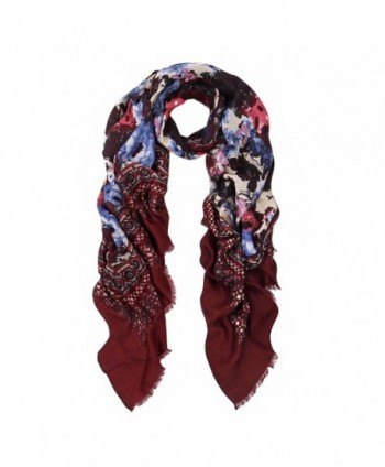 Elegant Large Vintage Floral Design Frayed End Scarf Wrap - Diff Colors Avail - Burgundy - CC1270V5JXL