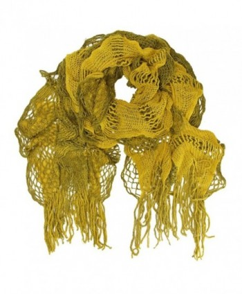 Feminine Ruffled Knit Winter Scarf With Fringe - Mustard - CG11BFF8WK1