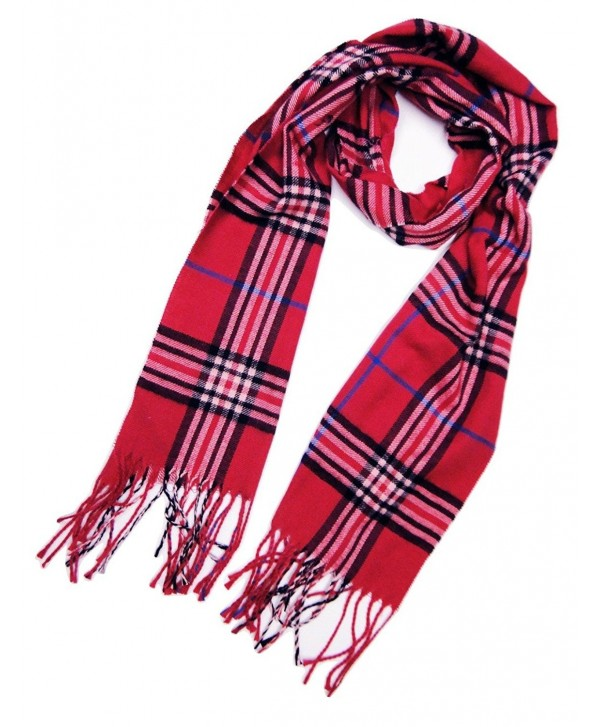 Tapp Collections Cashmere Feel Plaid and Check Tassel Ends Scarf - Cashmere Feel / Magenta - CV189974G3L