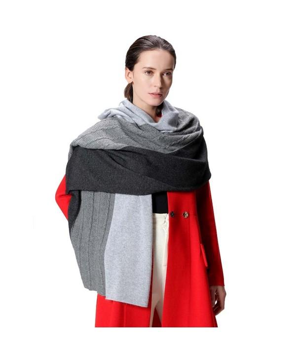 Fincati Women Scarves 100% Goat Cashmere Winter Wrap Pashmina 65''x30'' Contrast Color Twist Knit Shawl - Grey - C7189IQXKMC