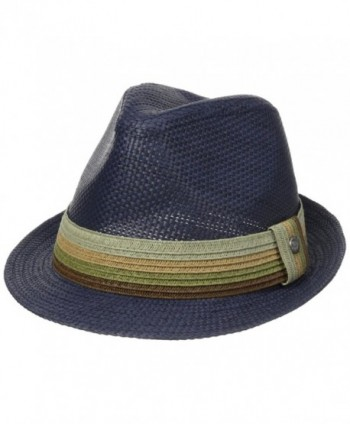 Perry Ellis Men's Braid Band Straw Fedora - Insignia Blue - CP11UG4WHYT