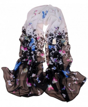 MEYKISS Women's Butterfly Print Light Sheer Voile Scarves Wrap Shawl - Black - CE11ANK3REJ