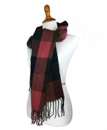 Tartan Multicolor Blanket Fashion Scarves - Pink Green Brown w Tassel - C212BZJA7O9