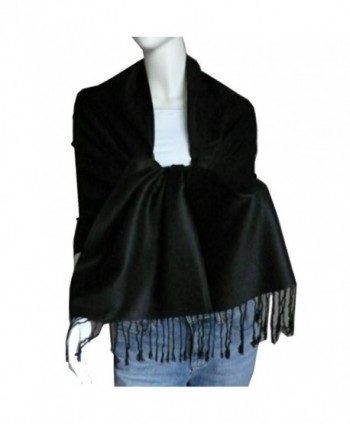 SCARF_TRADINGINC Large Soft 100% Twill Pashmina Scarf Shawl Wrap - Black - CD114EITF8T