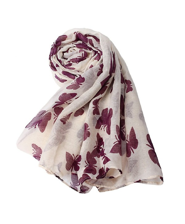 Lookatool Women Lady Butterfly Scarf Scarves Sun Protection Gauze Kerchief - Beige - C1127NKSM8X