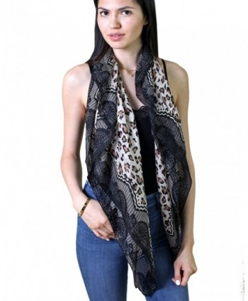 Anika Dali Women's Leopard Lace Animal Print Natural Silk Fashion Scarf- Black/Tan - C211G30YPPJ