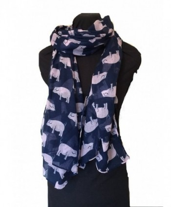Pamper Yourself Now Women's Pig Design Scarf/ Wrap Long Scarf - Navy With Pink - C0123KDDZKR