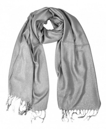 Peach Couture Princess Shimmer Scarf Pashmina Shawl with Fringes - Grey - CN186OOCH7Y