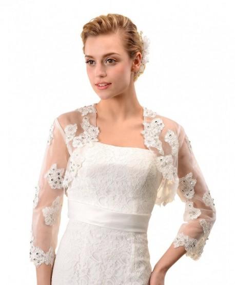 Topwedding 3/4 Sleeves Ivory Tulle Wedding Bridal Shrug Lace Bolero w Sequin - C011V8BWU73