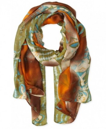 La Fiorentina Women's Abstract Floral Print Scarf with Swirls - Brown Combo - C211RU0UHWB