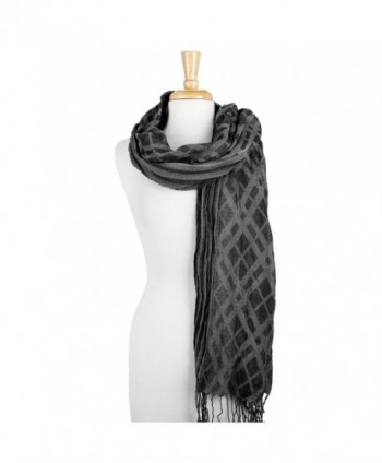 Feiramode Combination Plaid & Stripe Long Scarf with Fringe - Black - C5186RR95RK