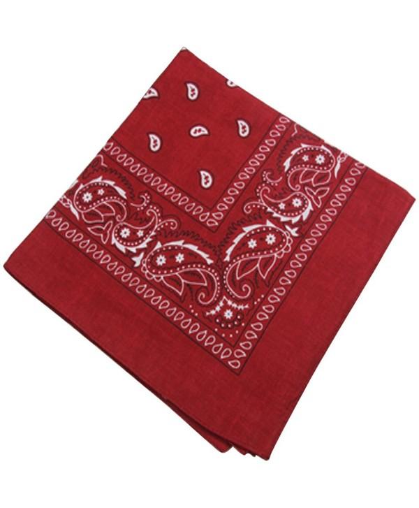 Printing Head Scarf Cotton Small Square Hair Wrap Burgundy for Women Men - CM1802Y822W
