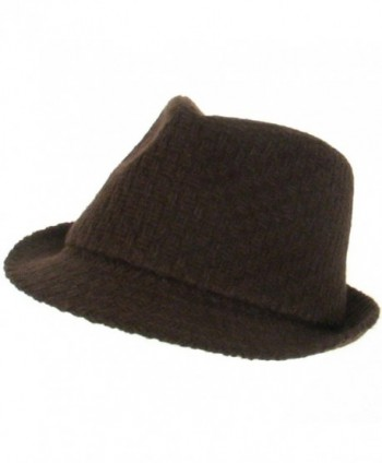 New Woven Wool Stingy Fedora Trilby Hat Cap Brown - C3112HJ9RFN