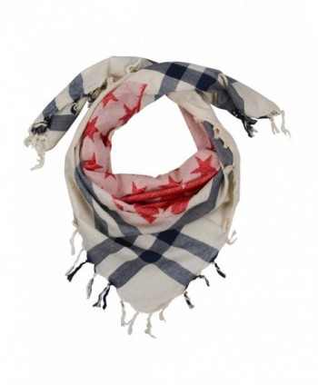 Lovarzi Star Scarf - United States flag colours or black & white - Red and Blue - C411I1MGP6J