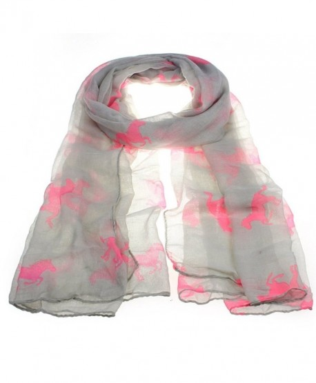 Hunzed Fashion Women Running Horse Print Long Scarf Shawl Wrap Stole Voile - Gray+pink - CX12NUO8Z24