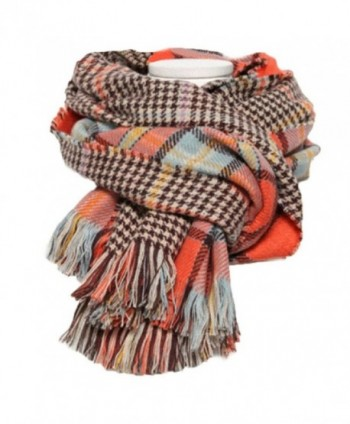 EF Women's Plaid Large Beach Wraps Sheer Grid Shawl Warm Lattice Scarf - Plaid 8 - CG127ZFUQ85