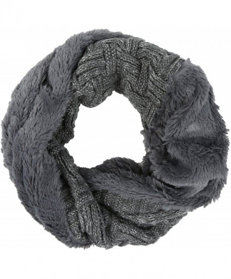 Sakkas Dalien Short Length Two Sided Faux Fur Ribbed Cable Knit Infinity Scarf - Grey - C312MX8MN1F