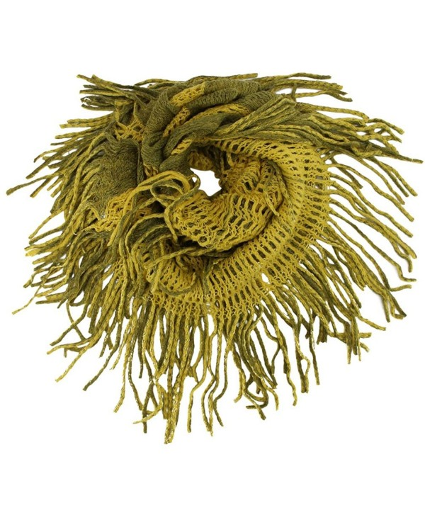Two-Tone Long Fringed Infinity Scarf - Green - CS11HRPRZQF