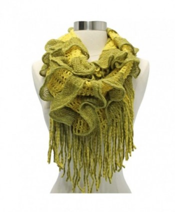 Yellow Olive Two Tone Fringed Infinity
