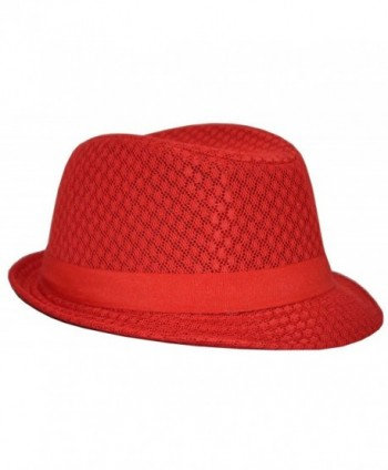 MLN Men's Mesh Fedora Red - C1128NQ2EUD
