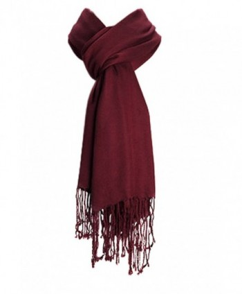 Amtal Large Pashmina Soft Scarf Cashmere Shawl Wrap Stole in 40+ Solid Colors - Burgundy - CK11H2LWU3H