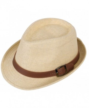 Harcadian Men & Women's Short Brim Structured Fedora Straw Hat w Buckle Band Sun Hat - Natural Hat Brown Belt - CX189Y8AMTC