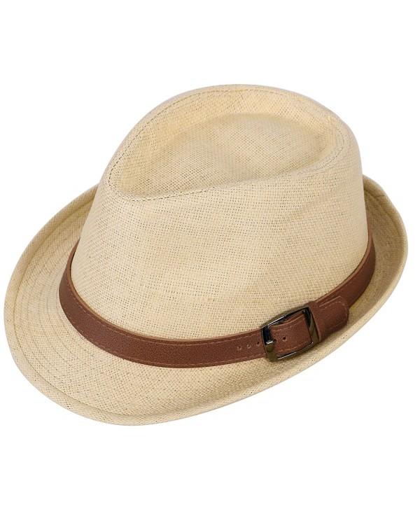 Harcadian Men & Women's Short Brim Structured Fedora Straw Hat w Buckle Band Sun Hat - Natural Hat Brown Belt - CX189Y8AMTC