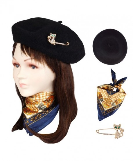 Jeicy Wool Beret Hat Solid Color French artist Beret With Skily Scarf and Brooch - Black - CQ1883RE33D