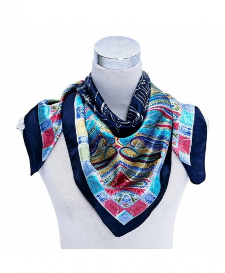"Premium Silky Rayon Paisley 35""*35"" Square Neck Scarf for Women Clothing Decor - Navy Blue - CE120TUMUIH"