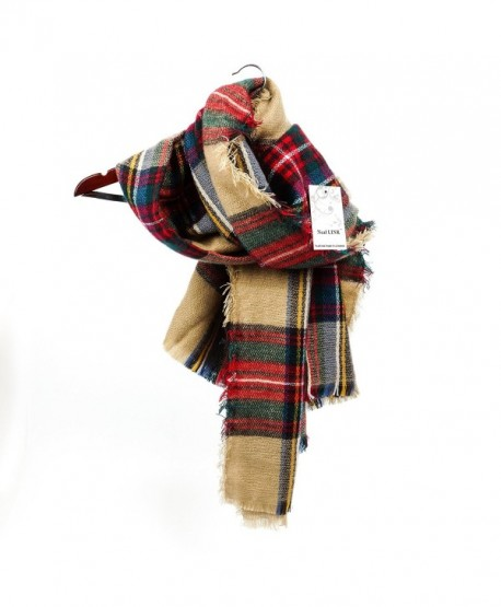 Women's Cozy Tartan Scarf Wrap Shawl Neck Stole Warm Plaid Checked Pashmina - CR11PVLU0KZ