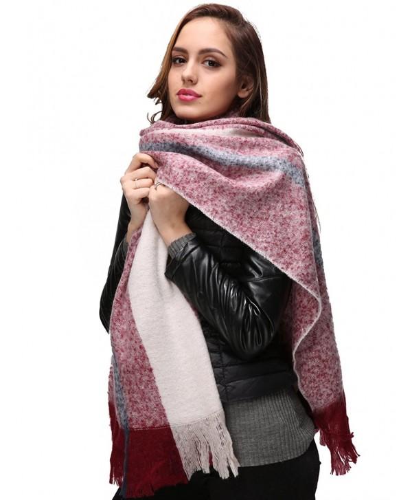 EVRFELAN Winter Warm Oversized Shawl Fringe Tassel Scarf Knit Blanket Pashmina for Women - Red Beige - C2185GWCCYT