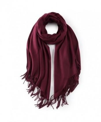 Cashmere Poncho Blanket Scarfs Fringe - Wine - CA188GE65SY