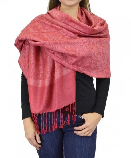 Belle Donne Jacquard Paisley Pashmina Soft Elegant Wrap Shawl Stole Scarf - Fuschia Pink - CU129949NU7