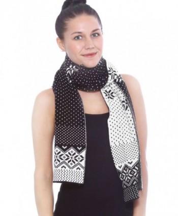 Women's Winter Thick Cable Knit Wrap Chunky Warm Crochet Snowflake Ski Scarf - Black - CY188WIS9QI