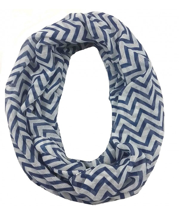 Lina & Lily Zig Zag Chevron Print Infinity Loop Scarf Small Size Lightweight - Navy/White - CC11Q0KQFY1