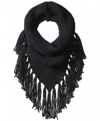 Steve Madden Women's Triangle Snood W Fringe - Black - C0182W7NNG6