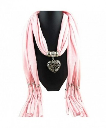 Vovotrade Women Winter Heart Gemstone Necklace Scarf Lady Tassel Warm Scarves - Pink - CT12O12TL9F