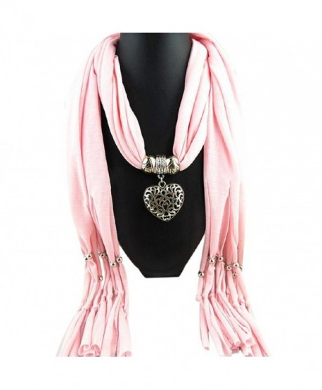 Vovotrade Women Winter Heart Gemstone Necklace Scarf Lady Tassel Warm Scarves - Pink - CT12O12TL9F