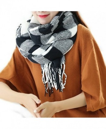 Ibeauti Women's Classic Plaid Blanket Scarf Long Winter Cozy Tartan Scarf Shawl - Black & White - CD1895H2UXT