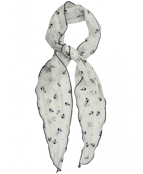 Lightweight Anchor Print Skinny Scarf Tie - White - CB12HJP8WHD