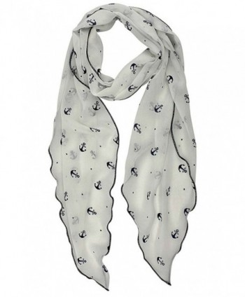 White Lightweight Anchor Print Skinny in Fashion Scarves