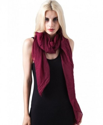 MissShorthair Womens Long Scarf in Solid Color Large Sheer Shawl Wraps for Evening - 10 Burgundy - CE188OZDRH3