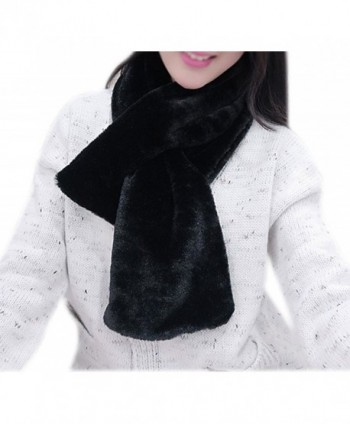 IvyFlair Women's Winter Warm Solid Color Soft Faux Fur Scarf - Black - CA12NUTFMDX