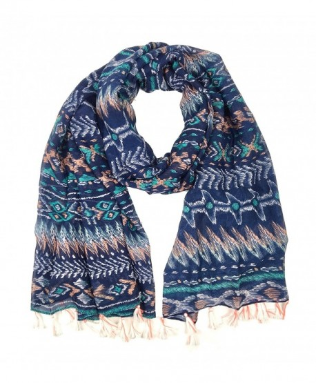 Bruceriver Women's Lightweight Soft Touch Printed Scarf with Tassels - Navy - CF12I68NT2Z
