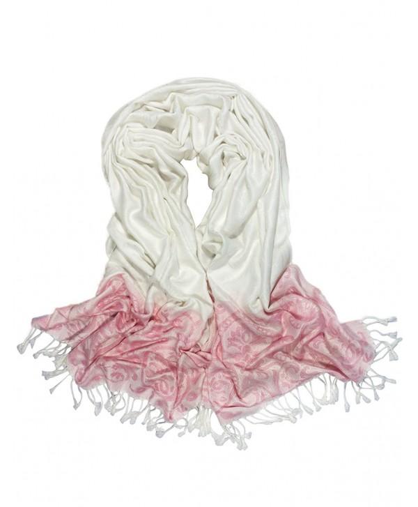 Dahlia Women's Rayon Scarf Shawl - Reversible Design - Leaf Vine - White - CH187D5NRTO