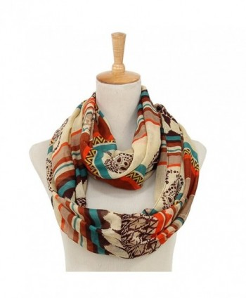 Trelemek Sheer Lightweight Bohemian Style Infinity Scarves for Women - White - CA182OCIGCY