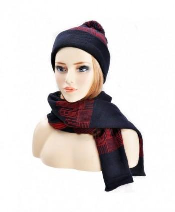 ZLYC Womens Teens Winter Warm Pompom Beanie Hat Skull Cap and Scarf Set - Navy - CD12MNQV0R7