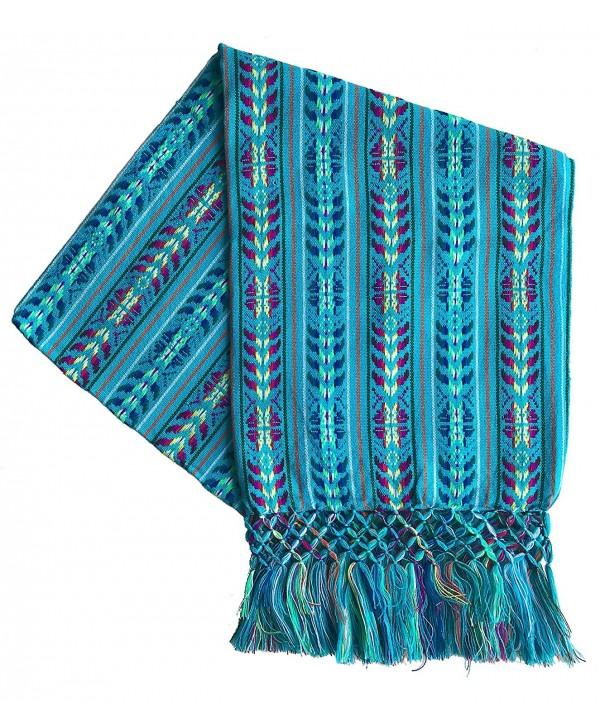 Mexican Handmade Colorful Rebozo Shawl - Cyan - CL187QXEKDT